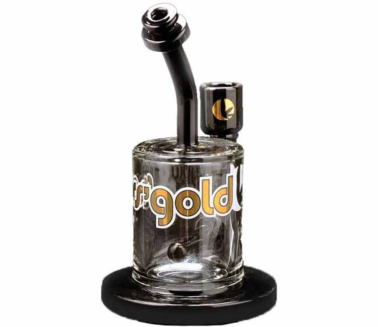 "Ross Gold Glass 7"" Tall Black Magic Concentrate Bubbler W/Black Accents"