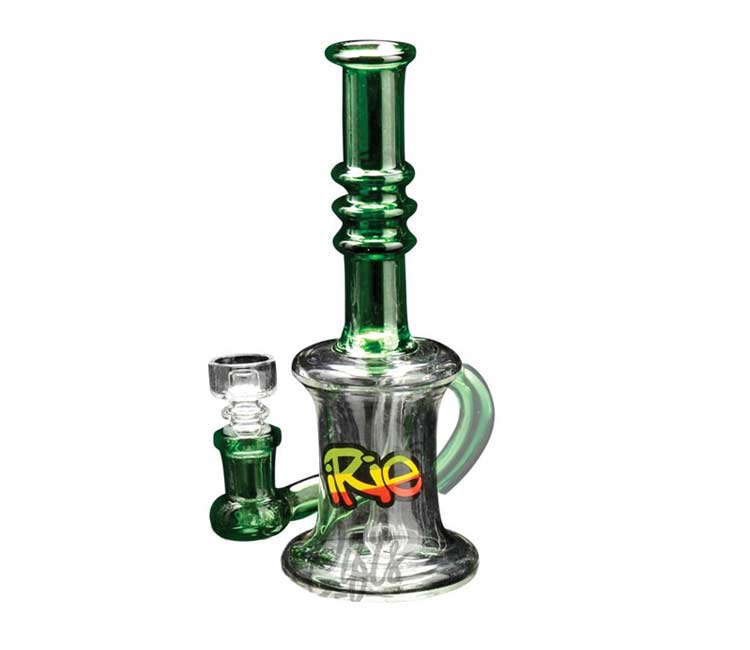 """iRie7"""" One Drop Concentrate Bubbler with Showerhead Perc & Domeless Quartz Nail"""