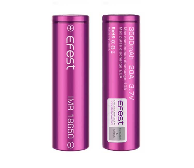 Efest IMR 18650 3500mAh 20A flat top battery