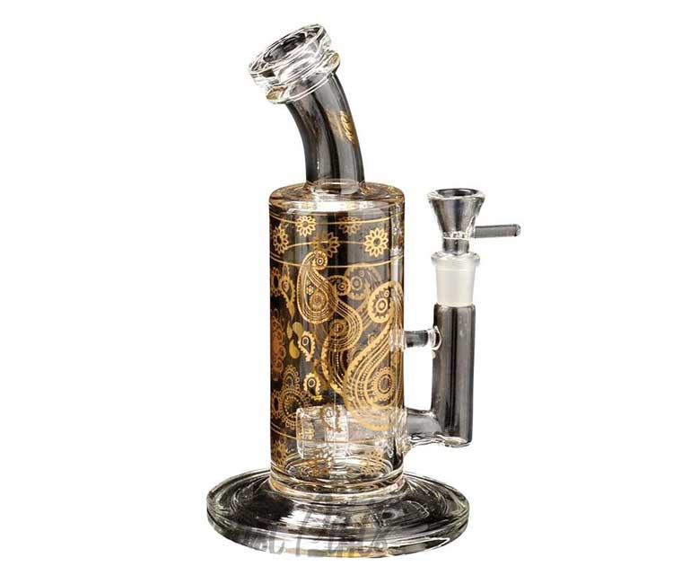 Red Eye Glass 10 Inch Paisley Bubbler