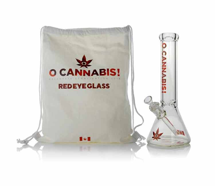 Red Eye Glass 'O Cannabis' Commemorative Water Pipe 12 Inch