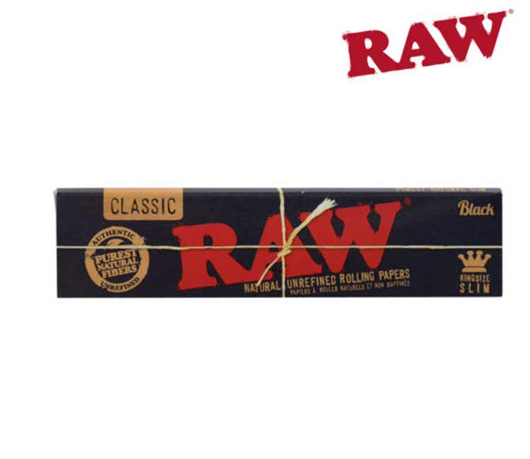 Raw Black Classic King Size Slim- Natural Unrefined Rolling Papers
