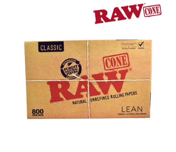 Raw Classic Lean Cones Natural Unrefined Pre-Rolled Tips – 800 (BOX)