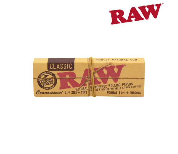 Raw Classic Connoisseur 1¼  Rolling Papers With Tips