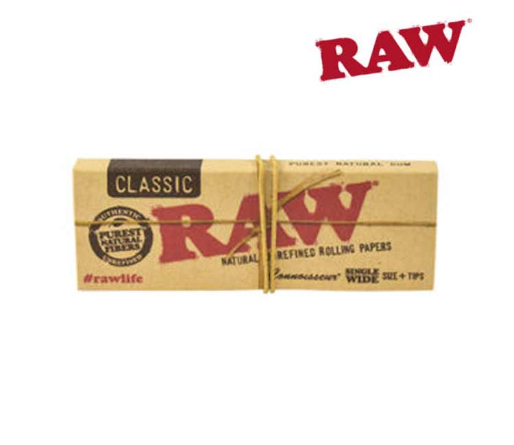 Raw Classic Connoisseur Single Wide Rolling Papers With Tips