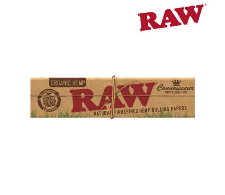Raw Organic Hemp King Size Slim Connoisseur Rolling Paper With Tips