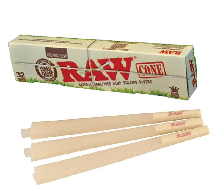 Raw Organic Pre-Rolled Cone King Size– Pack of32
