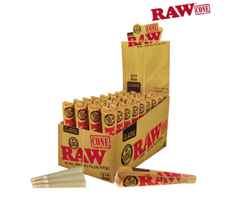 Raw Classic Pre-Rolled Cone 1¼ – Pack of 6