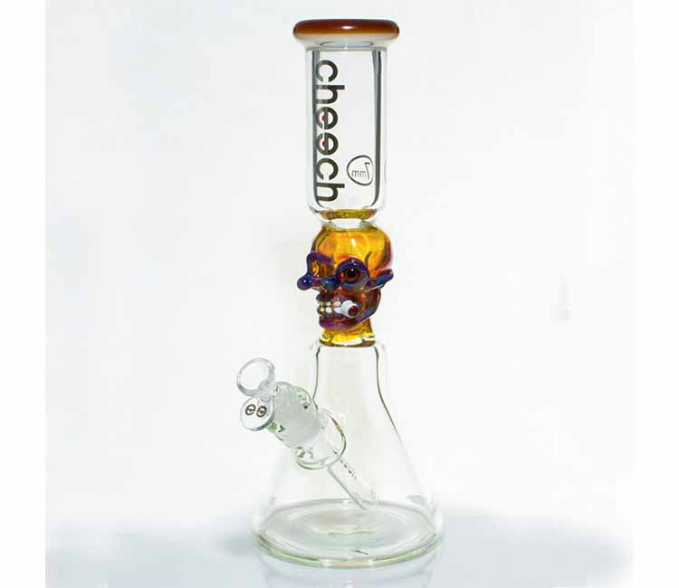 Cheech Glass Smoking Skull Tube Beaker