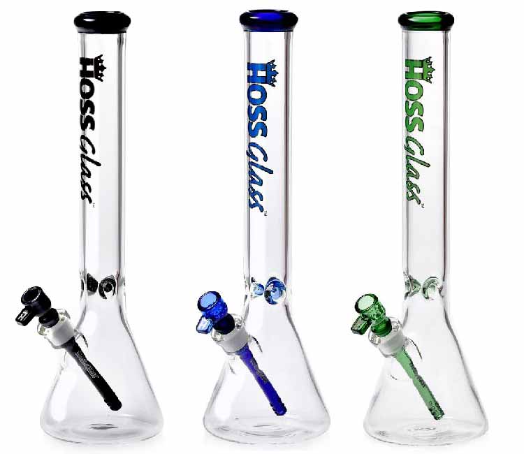 Hoss Glass 18 Inch 7mm Beaker with Beefy Downstem Joint & Color Mouthpiece