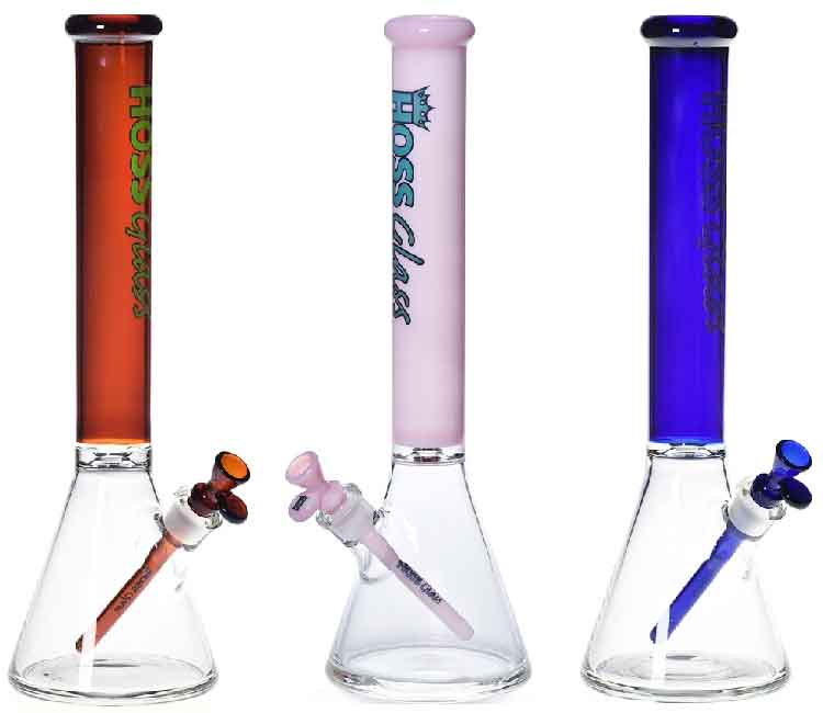 Hoss Glass 18 Inch 50mm Beaker with Colored Neck